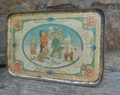 Antique Tin Lithograph Tray Children Building A Snowman Snow Babies Shabby Rustic Metal Ice Cream Parlor Tea Set Tray