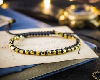 Gold nugget beads charm macrame bracelet