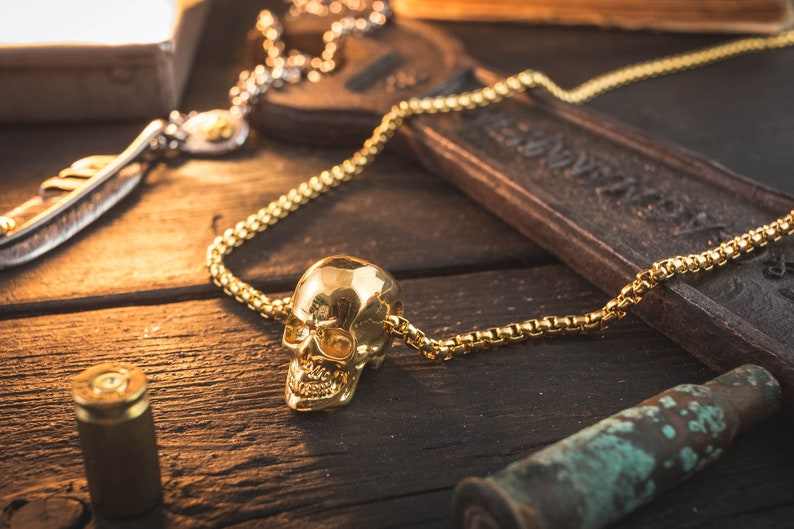 Gold Plated Stainless Steel Men/'s Necklace with Skull Pendant skull necklace mens necklace minimalistic necklace steel necklace