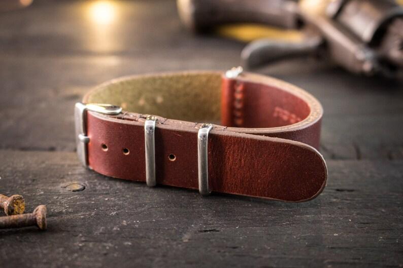 862c9e3c0c7 20mm Dark English Red genuie leather nato strap vintage style