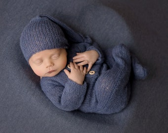 Newborn Footed Romper Knit newborn outfit Footed Newborn photo prop Newborn Sleeper Footed romper Sleepy hat More colors