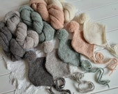 Knit baby wrap and Pom bonnet SET Newborn photo prop Newborn knit alpaca wrap Gray knit pom pom hat OFF white alpaca wrap bonnet set