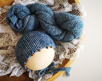 Stretch knit newborn wrap Beaded bonnet Long size knit newborn wrap Stone washed cotton wrap Thick knit newborn wrap bonnet set 20+ colours