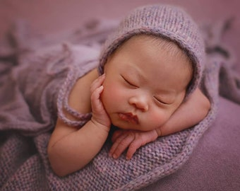 Cozy newborn wrap Chunky knit wrap and bonnet Pink newborn wrap Thick knit newborn layer Purple photo blanket Newborn wraps 20 colours