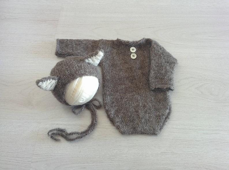 149bd4f5e Newborn prop outfit Newborn knit wolf bonnet and body Long
