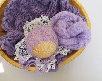RTS Newborn photography blanket Lavender photo props Purple mohair wrap lace bonnet Newborn girl photography prop Light purple photo blanket