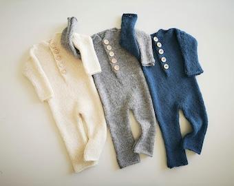 Newborn romper Knit newborn pajamas Long sleeved open foot jumper Newborn photo prop Newborn boy sleeper Newborn footless outfit Blue White
