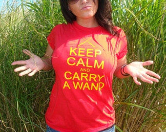 97f921714 Keep Calm And Carry A Wand Geek Wizard Humor WOMENS Babydoll Form Fit T -Shirt