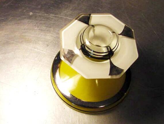 Vintage Glass Art Deco Candle Holder: ART DECO GLASS Candle Holder Indiana Glass Large