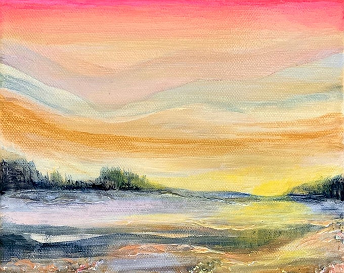 SUNSET GLOW 2 Colorful Small Landscape Painting 8x8 Modern Coral Orange Pink Yellow Fine Art Decor Affordable Art Under 200 Coastal Seascape