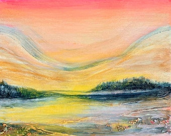SUNSET GLOW 1 Colorful Small Landscape Painting 8x8 Modern Coral Orange Pink Yellow Fine Art Decor Affordable Art Under 200 Coastal Seascape