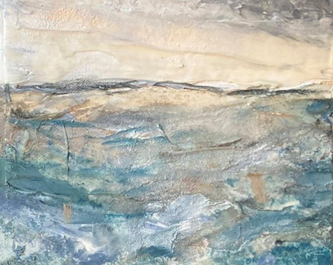 HIGH TIDE, ABSTRACT Coastal Landscape Painting Original Art Ocean Painting Contemporary Seascape Beach Nautical Modern Texture Elegant Gift