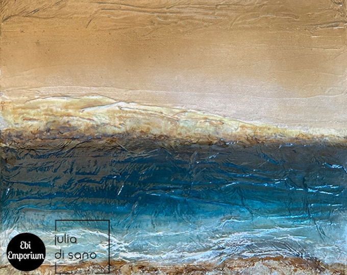 BY THE SEASHORE 1, Abstract Contemporary Coastal Landscape, Coastal Painting, Seaside Painting, Ocean Painting, Beach Wall Art Blue Gold