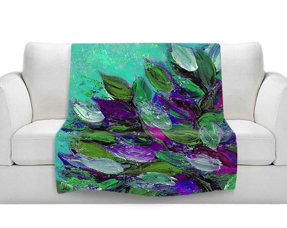 BLOOMING BEAUTIFUL Mint Green Cozy Lightweight Fleece Velveteen Art Blankets Floral Garden Aqua Purple Magenta Soft Snuggly, Multiple Sizes