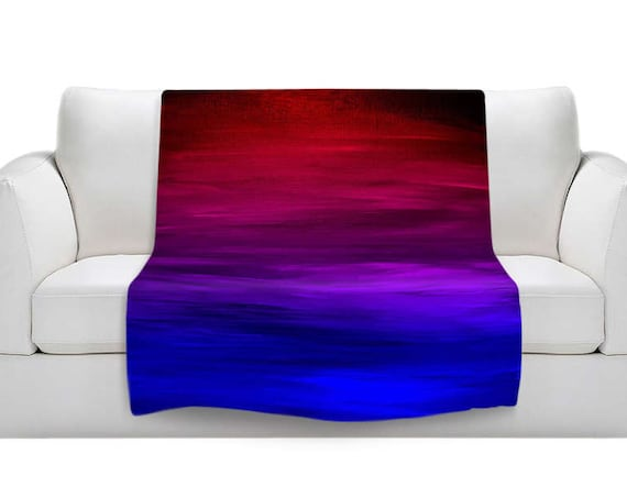ETERNAL SUNSET Red Blue Ombre Cozy Fleece Velveteen Art Blanket Royal Blue Purple Magenta Stripes Lightweight Soft Snuggly Warm Home Decor