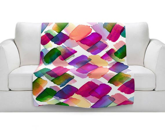 POLKA DOT RAINBOW 1 Magenta Pink Green Purple Fleece Velveteen Art Blanket Summer Pattern Lightweight Soft Snuggly Warm Colorful Home Decor