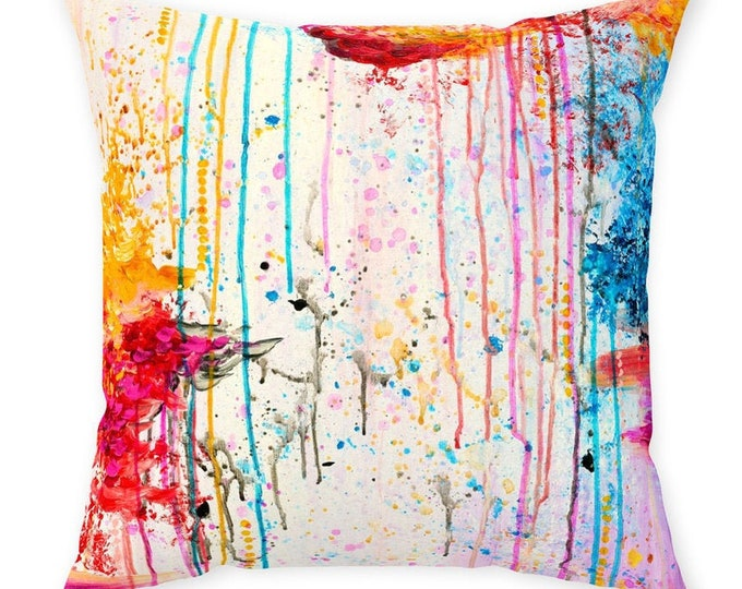 HAPPY TEARS Colorful Art Suede Throw Pillow Cover Abstract Drip White Magenta Pink Red Yellow Royal Blue Modern Dorm Home Decor Painting