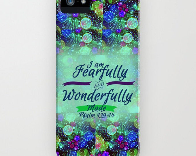 FEARFULLY and WONDERFULLY MADE iPhone 8 X Xr Xs Max 11 Case Samsung Galaxy Floral Christian Psalm Typography Abstract Scripture Bible Verse