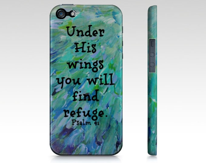 Under His Wings iPhone 5 SE 6 7 8 X Xr Xs Max Case Bible Proverbs Art Teal Green Blue Feathers Waves God Abstract Scripture Biblical Verse