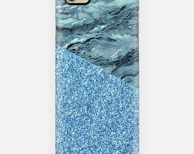 MARBLE IDEA BLUE Grey Faux Glitter Abstract iPhone 12 Pro Max 8 X Xr Xs 11 Case Samsung Galaxy Plastic Phone Turquoise Gray Agate Painting