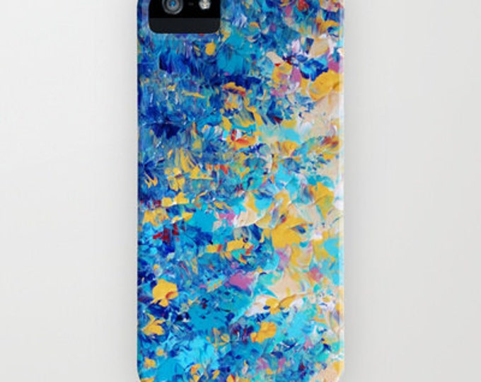 HYPNOTIC BLUE SUNSET Colorful Ocean Ombre iPhone 8 X Xr Xs Max 11 12 Pro Case Samsung Galaxy S20 S21 Samsung Note Turquoise Blue Painting
