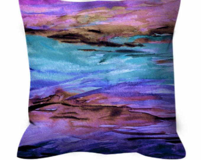 UNANCHORED 1 Aqua Purple Watercolor Art Suede Throw Pillow Cushion Cover 18x18 20x20 26x26 Ocean Ombre Design Turquoise Lavender Beach Decor