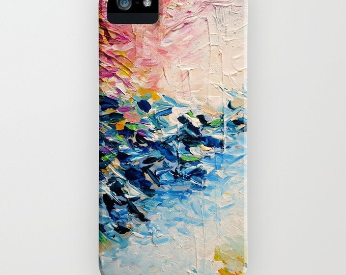 PARADISE DREAMING Girly Pastel Pink Blue White iPhone 8 Plus X Xs Xr 11 12 Case Samsung Galaxy Hard Cell Phone Abstract Ocean Waves Painting