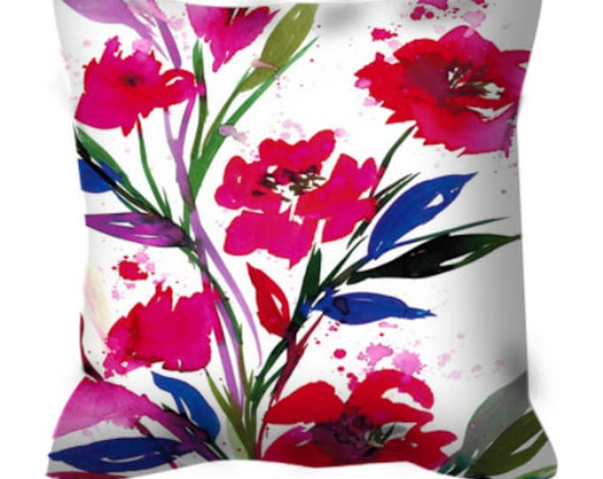 POCKETFUL OF POSIES Magenta Red White Blue Abstract Art Decorative Suede Throw Pillow Cover 18x18 20x20 26x26 Watercolor Spring Summer Decor