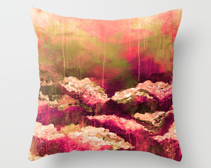 ROSE COLORED LIFE 2 - Decorative Burgundy Red Pink Olive Green Floral Art Throw Pillow Cover 16x16 18x18 20x20 Polyester Fall Decor Cushion
