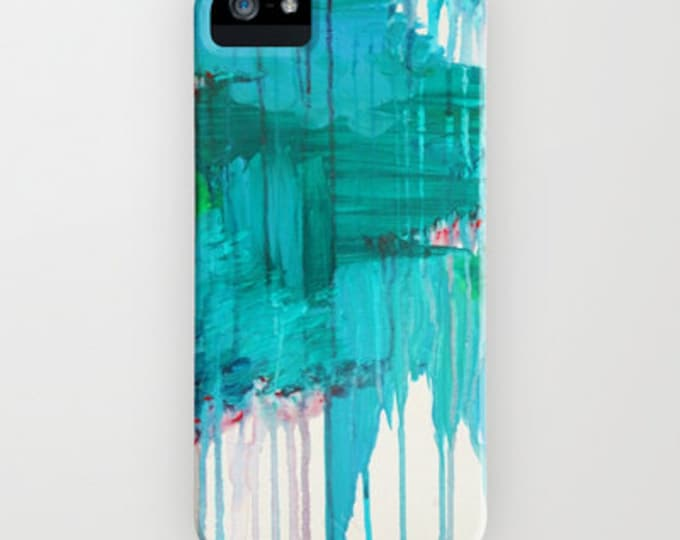 BLUE MONSOON Teal Rainy Day Art iPhone 6 7 8 X Xr Xs Max 11 Pro Case Samsung Galaxy Hard Phone Cover Stylish Modern Abstract Blue Painting
