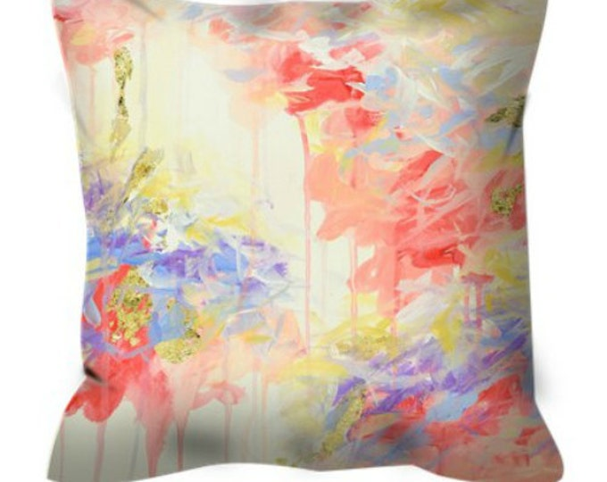 WHISPERED SONG PASTEL Decorative Abstract Art Suede Throw Pillow Cover 18x18 20x20 26x26 Cream Coral Pink Lavender Gold Lilac Painting Decor