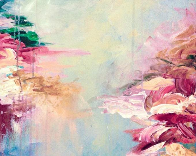 WINTER DREAMLAND 1 Pastel Abstract Painting Digital Giclee Print Acrylic Burgundy Maroon Rose Quartz Serenity Blue Aqua Cream High Quality