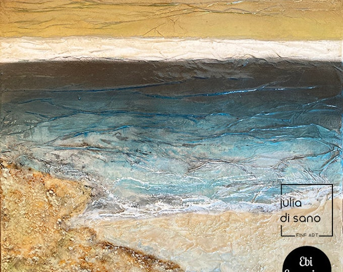 BY THE SEASHORE 4, Abstract Contemporary Coastal Landscape, Coastal Painting, Seaside Painting, Ocean Painting, Beach Wall Art Blue Gold