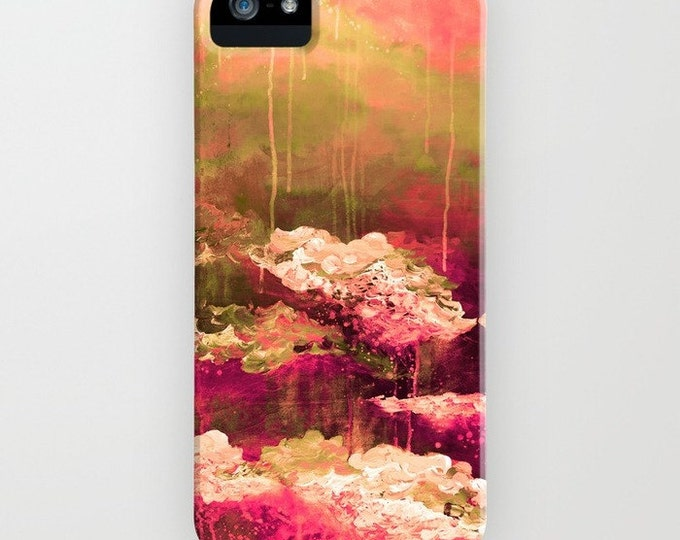 ROSE COLORED LIFE 2 Floral Abstract iPhone 12 Pro Max Case iPhone 11 8 X Xr Xs Max Samsung Galaxy Phone Pink Burgundy Olive Green Painting