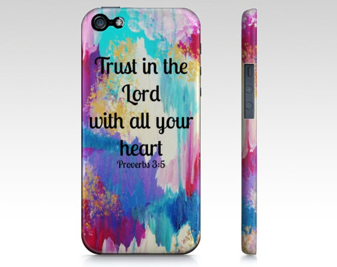 Trust in the Lord iPhone 5 SE 6 7 8 X Xr Xs Max Samsung Case Bible Proverb Ikat Christian Purple Pink Blue Abstract Scripture Biblical Verse