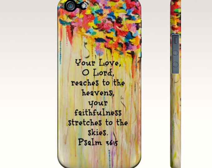 Your Love O Lord iPhone 7 8 X Xr Xs 11 Pro Max Case Rainbow Yellow Orange Red Christian Psalm Rainy Clouds Abstract Scripture Biblical Verse