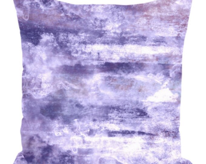 PASTEL CLOUDS, PURPLE Lavender Art Suede Throw Pillow Cushion Cover 18x18 20x20 26x26 Abstract Chic Lilac Sky Art Modern Girl Decor Painting