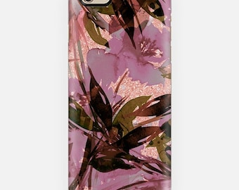 FLORAL FIESTA ROSE Gold Mauve Pink Girly Flowers iPhone 11 12 Pro Case X Xr Xs Samsung Galaxy S10 S20 S21 Samsung Note Faux Glitter Pattern