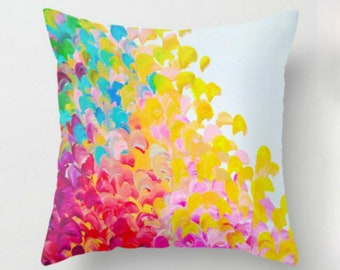 CREATION IN COLOR - Decorative Throw Pillow Cover 16x16 18x18 20x20 Rainbow Red Pink Yellow Aqua White Ocean Ombre Splash Dorm Decor Cushion