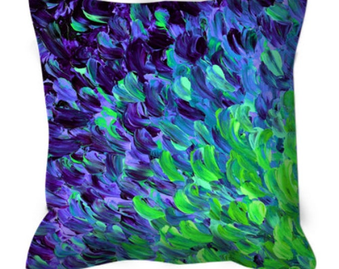 DEEP SEA DRIFT Blue Purple Green Ombre Watercolor Art Suede Throw Pillow Cover 20x20 26x26 Abstract Ocean Splash Waves Peacock Decor Cushion
