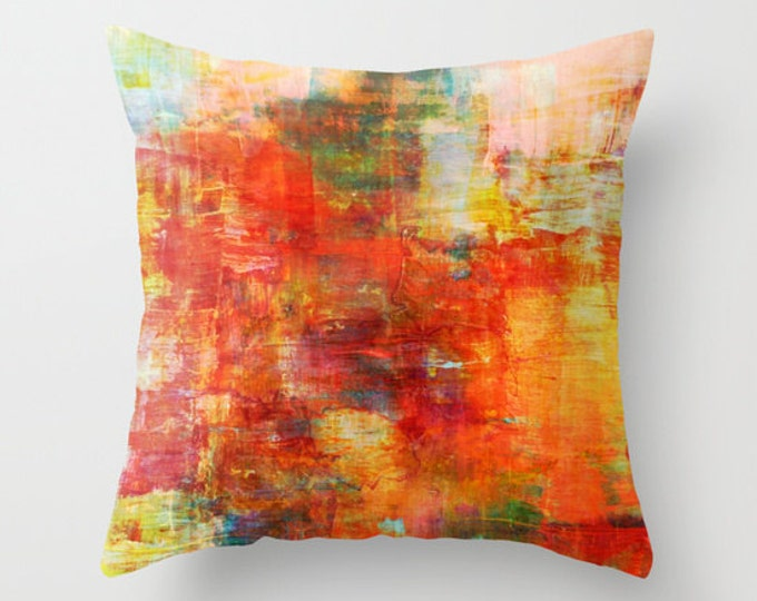AUTUMN HARVEST Decorative Orange Green Decorative Painting Art Throw Pillow Cover 16x16 18x18 20x20 Square, Festive Fall Colorful Abstract
