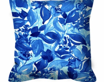 BLOSSOMS UNCHAINED China Blue White Floral Watercolor Art Suede Throw Pillow Cushion Cover 18x18 20x20 26x26 Garden Flowers Pattern Decor
