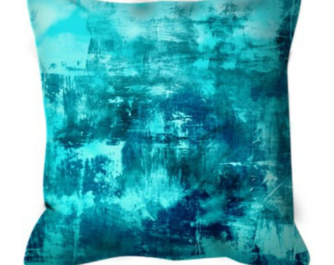 OFF THE GRID 8 Turquoise Blue Aqua Teal Art Suede Throw Pillow Cover 20x20 26x26 Abstract Coastal Ocean Nautical Cool Sea Chic Decor Cushion