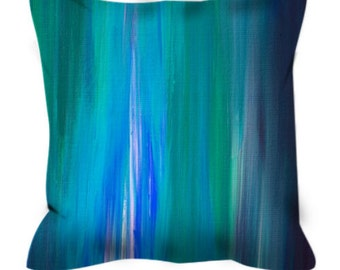 IRRADIATED BLUE Colorful Art Suede Throw Pillow Cover Abstract Stripe Teal Green Turquoise Nautical Colorful Ocean Waves Ombre Decor Cushion