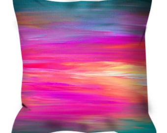 BRIGHT HORIZONS 2 Abstract Rainbow Stripes Pattern Art Suede Throw Pillow Cover Ombre Sunset Colorful Hot Pink Magenta Blue Girly Home Decor