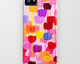 DOTTY IN PINK iPhone X Xr Xs 11 12 Pro Max Mini Case Samsung Galaxy Cover Polka Dots Rainbow Colors Pink Original Abstract Acrylic Painting