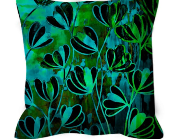 EFFLORESCENCE Deep Green Turquoise Blue Floral Art Suede Throw Pillow Cushion Cover 18x18 20x20 26x26 Flowers Pattern Modern Decor Painting