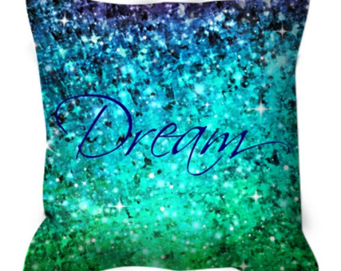 DREAM Fine Art Suede Throw Pillow Cover Typography Ombre Abstract Art Painting Midnight Royal Blue Turquoise Green Purple Modern Home Decor