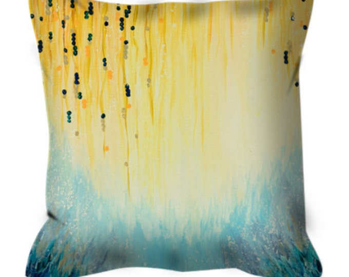 HGTV Featured Pillow MYSTIC GARDEN Suede Throw Cushion Cover Pillow Cover Abstract Yellow Fine Art Soft Furnishings Autumn Fall Home Decor