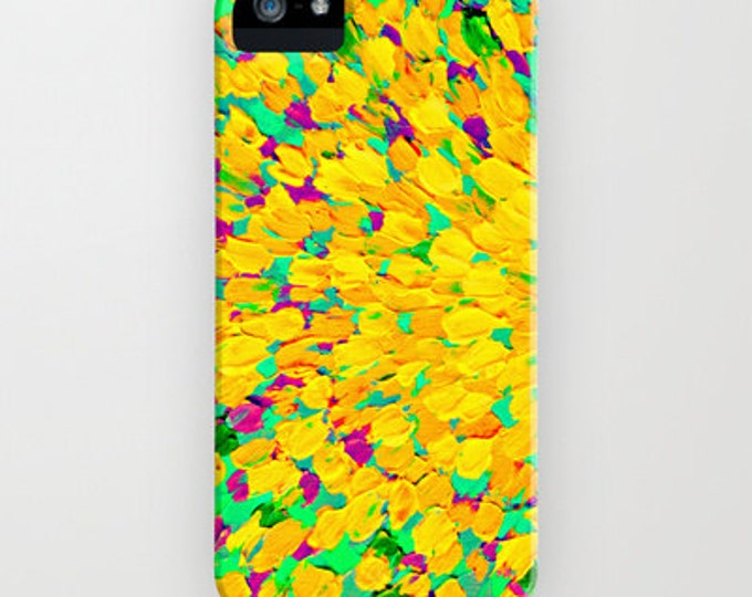 SPRING SPLASH Neon Yellow Green Splash iPhone 11 Pro Max Case 7 8 Plus X Xr Xs Max Samsung Galaxy Art Lemon Lime Waves Ocean Ombre Painting